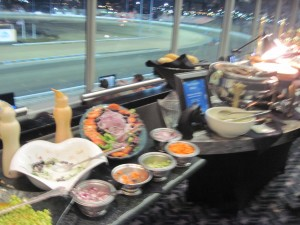 A blurry view of the food at Terraces. Don't worry, you're not missing anything.