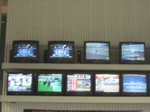 The bank of TVs indoors