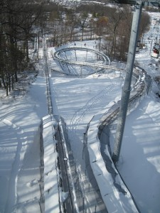 This alpine coaster goes up to 25 miles an hour (you can use hand brakes to control speed) and is supposed to run year round. Copyright Deborah Abrams Kaplan
