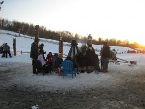 Warm up at the bonfire at the base of Mountain Creek's tubing hills. Copyright Deborah Abrams Kaplan
