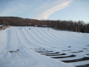 One of the tubing hills at Mountain Creek resort in NJ. It's empty because all the tubers go down at the same time, and they haven't shoved off yet. Copyright Deborah Abrams Kaplan