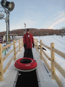 Hubby takes the magic carpet ride at Mountain Creek's tubing area. This is after he steadied himself. Copyright Deborah Abrams Kaplan