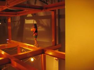 Walking on the I-beam at the Liberty Science Center. Copyright Deborah Abrams Kaplan