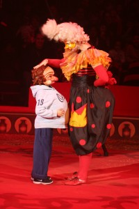Clown and audience participant. Copyright Deborah Abrams Kaplan