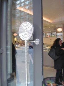 The lollipop handled entrance to Sugar and Plumm. Copyright Deborah Abrams Kaplan