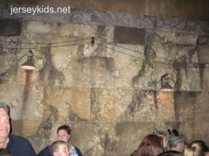 This one on Indiana Jones is VERY clever and hard to see without light. The flash captured it well, but I'd never know it was there without the book. It's in the room with the video, just before you're about to get on the ride.