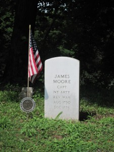 Captain Monroe, who is pictured in the famed Washington Crossing painting next to Washington, is the only known soldier buried here. The soldiers' graves from the Washington Crossing area. Copyright Deborah Abrams Kaplan