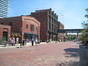 The brick buildings and cobblestone of the Distillery District. Copyright Deborah Abrams Kaplan