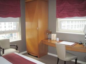 The bedroom in Hotel Giraffe's king suite. Deborah Abrams Kaplan