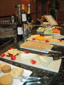 Complementary afternoon wine and cheese daily at the Hotel Giraffe's lobby. Deborah Abrams Kaplan