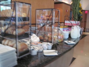 Complementary breakfast is available at Hotel Giraffe from 7-10:30 a.m. Copyright Deborah Abrams Kaplan