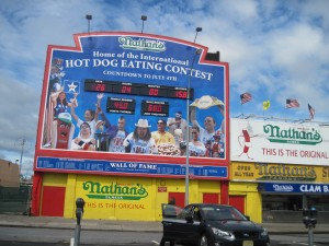 The famous Nathan's Hot Dogs. Copyright Deborah Abrams Kaplan