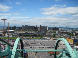You can see the Cyclones stadium from the top of the Wonder Wheel. Copyright Deborah Abrams Kaplan