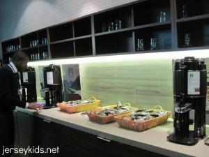 Help yourself to free snacks and drinks at Porter's waiting area. Copyright Deborah Abrams Kaplan