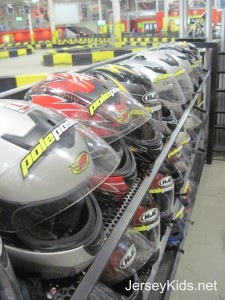 After watching a safety video, you get fitted with helmets at Pole Position Raceway in Jersey City. Copyright Deborah Abrams Kaplan