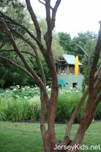 As always, sculpture were scattered around the area. The yellow thing is a lamp hanging from the tree, I believe, or at minimum, some kind of decoration. You can climb the gazebo for a nice view, and through the window at the bottom you can buy beer, nonalcoholic drinks and ice cream.