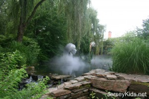 The pond outside Rat's restaurant had a great sculpture in it, with fog.