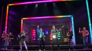 The Other Josh Cohen at Paper Mill Playhouse; Photo by Jerry Dalia; From left to right: Steve Rosen, Cathryn Salamone, Vadim Feichtner, Kate Wetherhead, Ken Triwush, Hannah Elless, and David Rossmer.