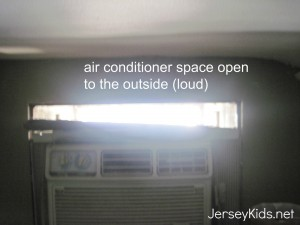 You can bet there were no pictures of the air conditioning unit with a huge gap open to the outside.