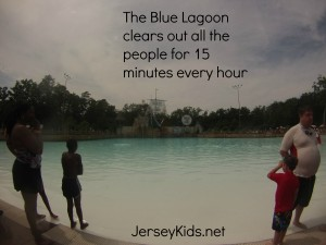 The big wave pool empties of humanity every 45 minutes.