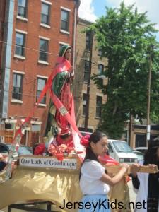 Parade of saints at the Italian Market Festival.