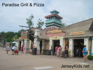 Paradise Grill and Pizza, typical of the buildings and decor at Hurricane Harbor.