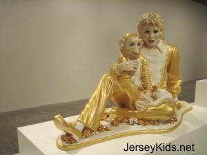 The famous Michael Jackson and Bubbles porcelain piece.