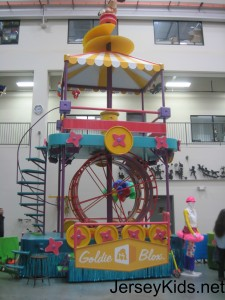 One segment of the Girl-powered GoldieBlox float. The first segment features a girl riding a bicycle, which makes everything work.