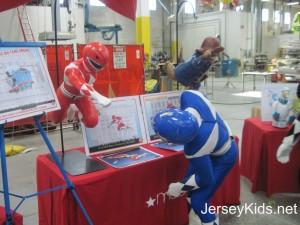 The Power Ranger checks out the balloon model