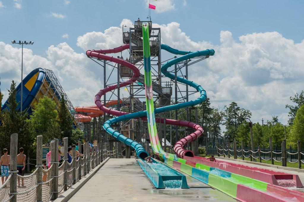The Falls: Jurahnimo, Cannonball & Wahini at Hurricane Harbor, Six Flags NJ. Photo courtesy of Six Flags.