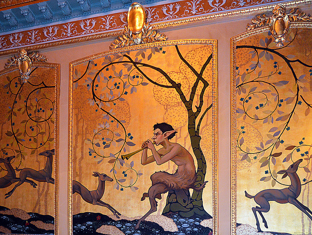 The Walter Kerr Theater had lovely wall murals and ceilings. Here is one panel. Photo courtesy of Emily Mathews/Flickr.