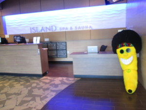 "An odd mascot which doesn't fit in with the decor or theme of the Island Spa, other than the name ""Island"". Photo copyright Deborah Abrams Kaplan"