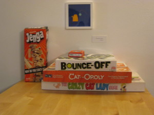 Some of the games at the Meow Parlour in New York City. Photo copyright Deborah Abrams Kaplan.