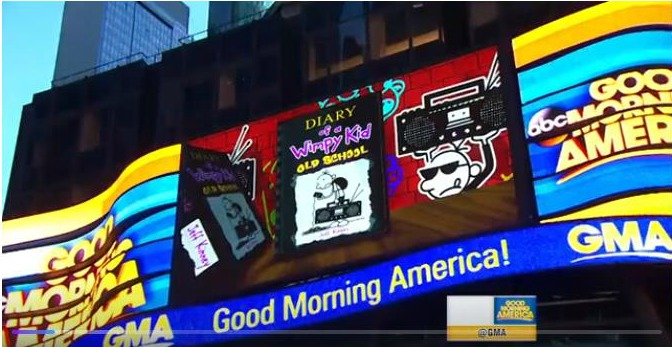 The Good Morning America Times Square lights during our segment. Photo screenshot from GMA airing.