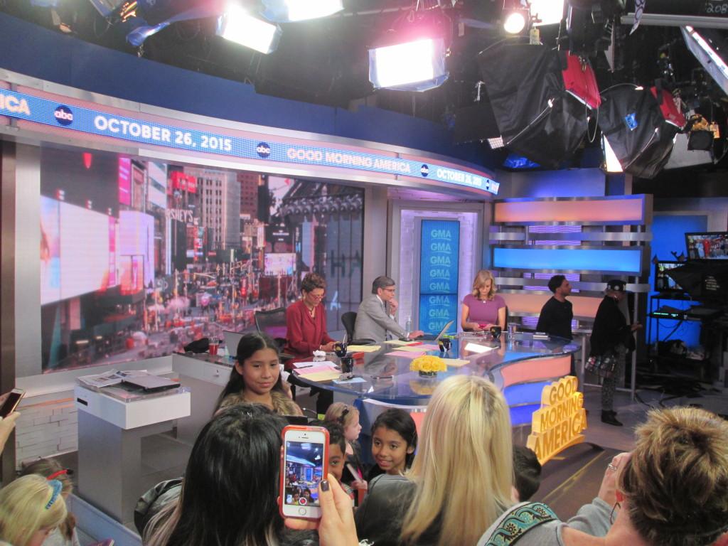 The anchors prepare for their next segment. Copyright Deborah Abrams Kaplan