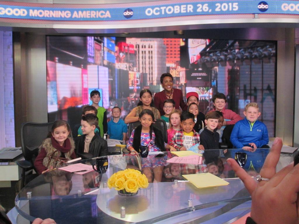 Robin Roberts graciously poses with the kids on the GMA set. Copyright Deborah Abrams Kaplan