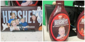 You can get 2 custom Hershey bars for $20, or a syrup bottle bank for $25.