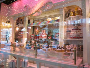 One of two patisserie windows with rotating treats