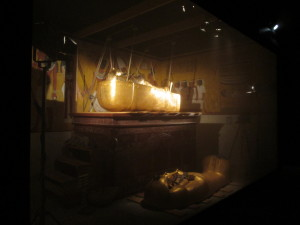 A reproduction of King Tut's coffin in the sarcophagus, as found by Carter. Copyright Deborah Abrams Kaplan