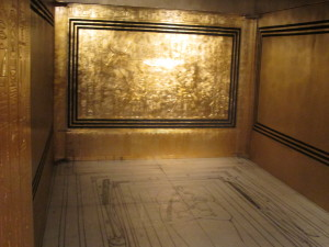The inside of the outermost golden box holding King Tut's coffin. The floor shows palcement of the other boxes adn the coffin. Copyright Deborah Abrams Kaplan