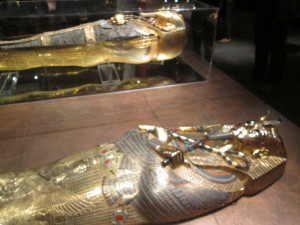 A reproduction of the actual coffin and King Tut mummy. Copyright Deborah Abrams Kaplan