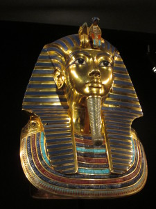 King Tut's 25 pound golden face cover (a reproduction). Copyright Deborah Abrams Kaplan