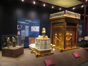 The canopic containers holding King Tut's organs, in miniature coffins inside of an alabaster container with alabaster animal heads. This all sat inside the large golden shrine. Copyright Deborah Abrams Kaplan