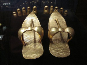 King Tut's golden sandals and toe covers (he had finger covers too) - a reproduction. Copyright Deborah Abrams Kaplan