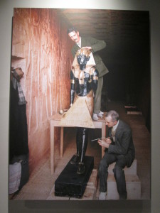 Restoration work by Howard Carter of one of the guards to King Tut's burial chamber. The photo has been colorized for the exhibition.