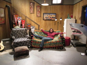 Hanging out on the set of Wayne's World at the exhibition. Copyright Deborah Abrams Kaplan