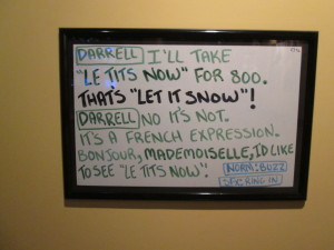 One of my favorite cue cards from the 40th anniversary show. Copyright Deborah Abrams Kaplan