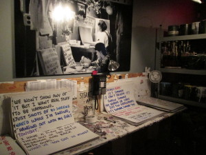 The cue card department writes down every word to be said during the show. Copyright Deborah Abrams Kaplan