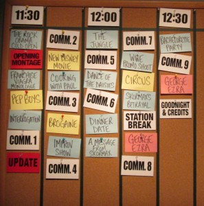 The index card system for laying out the sketches and times. Copyright Deborah Abrams Kaplan