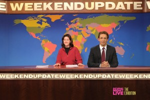 Look! Seth Meyers joined me at his Weekend Update table.